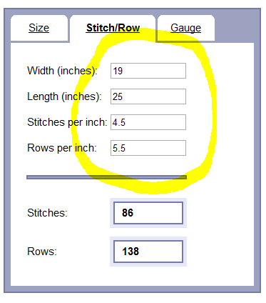 Image showing filled in pane for computing stitches and rows