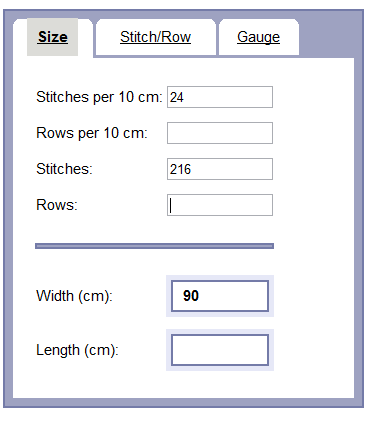 Image showing entry of 24 stitches per 10 centimeters