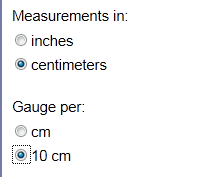 Image showing centimeter and per 10 centimeters radio buttons selected