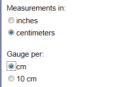 Image showing centimeter and per centimeter radio buttons selected
