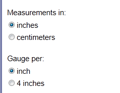 Image showing inch and per inch radio buttons selected
