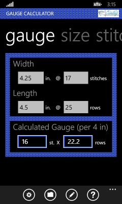 Image showing filled in pane for computing your gauge