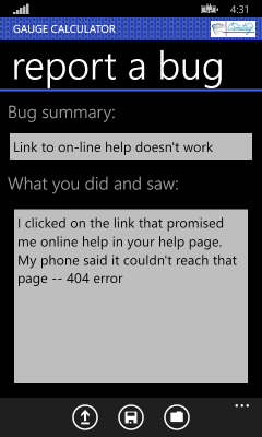 Image showing the page letting your report a bug