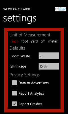 Image showing the settings page
