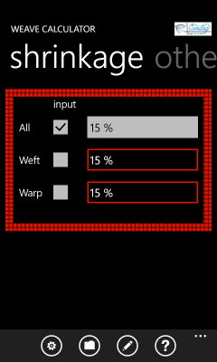 Image showing the pane prompting for shrinkage when you take your project off the loom