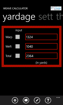 Image showing the pane with yarn yardage requirements